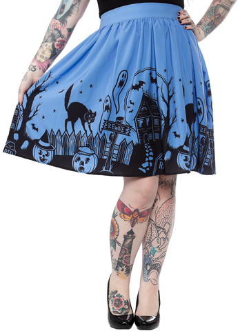 Sourpuss Haunted House Skirt