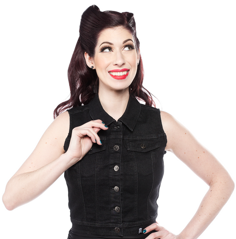 Sourpuss Essential Stretch Denim Vest Black