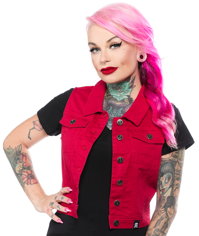 Sourpuss Essential Vest Burgundy