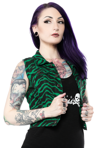Sourpuss Essential Vest Zebra Green