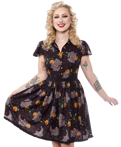 Sourpuss Feline Spooky Lydia Dress