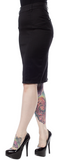 Sourpuss Pocket Pencil Skirt Black