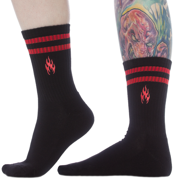 Sourpuss Flames Embroidered Ladies Crew Socks