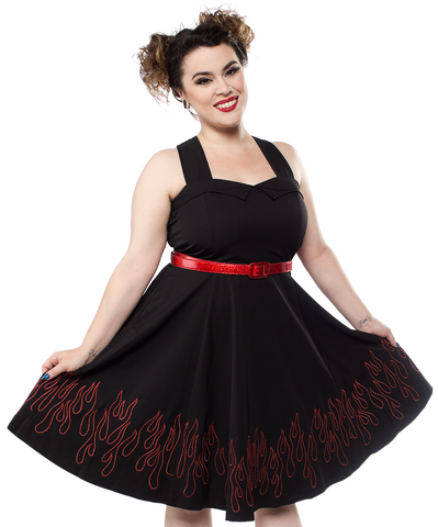 Sourpuss Flames Veronica Swing Dress