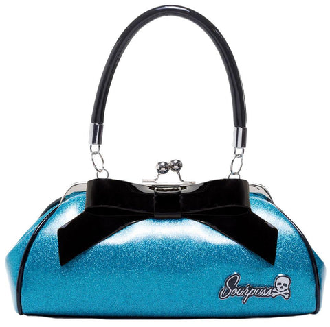 Sourpuss Floozy Purse Glitter Turquoise