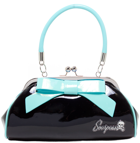 Sourpuss Floozy Purse Black W/ Light Blue Bow