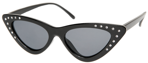 Sourpuss Cat Eye Sunglasses Blk Rhinestone