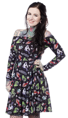 Sourpuss Ghastly Ghouls Off Shoulder Dress