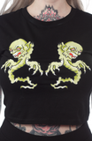Sourpuss Twin Ghouls Crop Tee