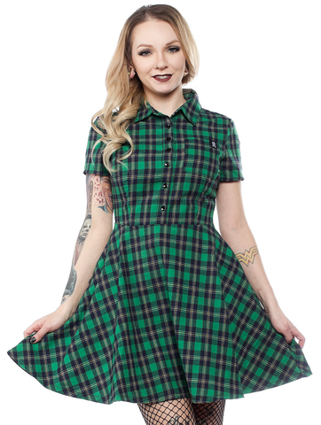Sourpuss Plaid Button Down Dress Green
