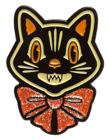 Sourpuss Halloween Cat Enamel Pin