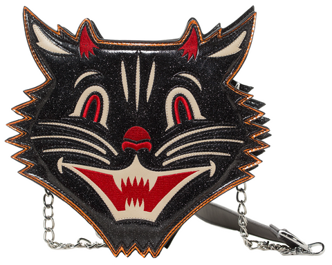 Sourpuss Halloween Cat Sparkle Purse