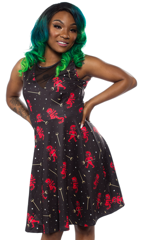 Sourpuss Hot Stuff Mesh V Neck Dress