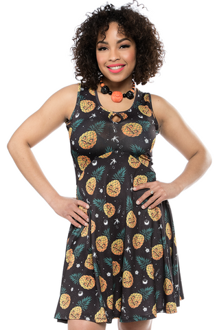 Sourpuss Jill-O-Lantern Keyhole Skater Dress