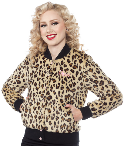 Sourpuss Furry Leopard Bomber Jacket
