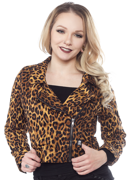 Sourpuss Leopard Moto Jacket