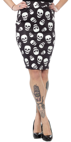 Sourpuss Lust For Skulls Scuba Skirt