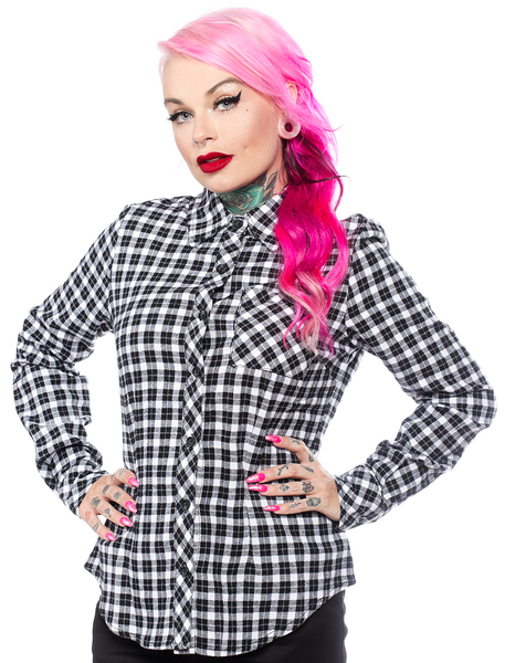 Sourpuss Maryann Flannel Top White