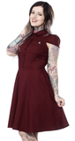 Sourpuss Check Dress Oxblood