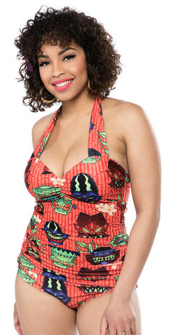 Sourpuss Monster Tiki Ruched One Piece Swimsuit