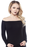 Sourpuss Off Shoulder Top Black