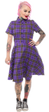 Sourpuss Plaid Button Down Dress Purple