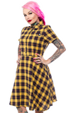 Sourpuss Plaid Button Down Dress Yellow