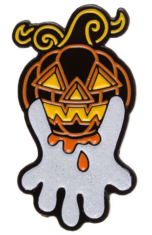 Sourpuss Pumpkin Ghost Enamel Pin