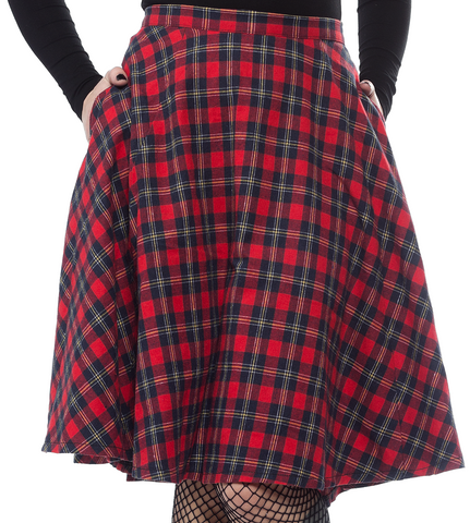 Sourpuss Plaid Bonnie Skirt Red