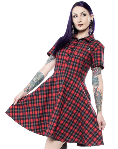 Sourpuss Plaid Button Down Dress Red