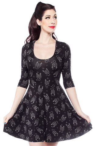 Sourpuss Scorpion 3/4 Sleeve Skater Dress
