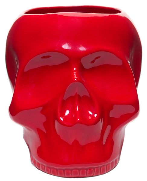 Sourpuss Skull Planter Red