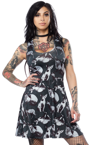 Sourpuss Sphynx Skater Dress Gray