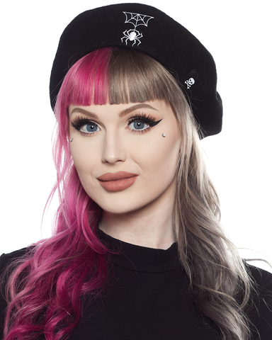 Sourpuss Spider & Web Beret