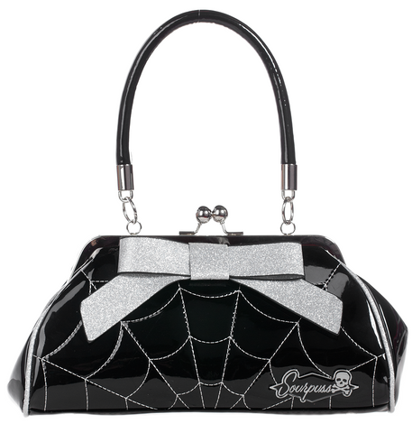 Sourpuss Spiderweb Floozy Purse Black / Silver