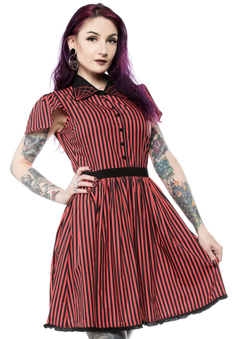 Sourpuss Striped Spiderweb Lydia Dress Red / Black