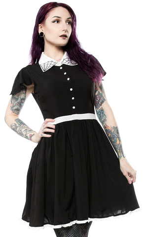 Sourpuss Spiderweb Lydia Dress Black