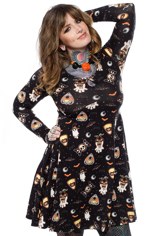 Sourpuss Spooky Treats Keyhole Skater Dress