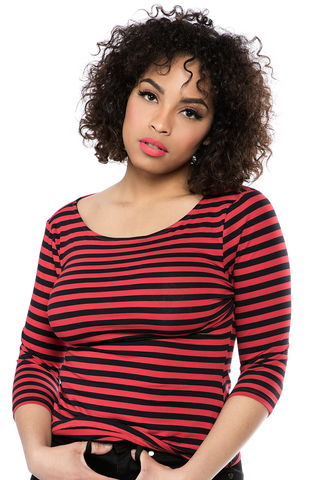 Sourpuss Striped Audrey Top Red/Blk