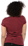 Sourpuss Striped Jolly Roger Crew Neck Top Red/Blk
