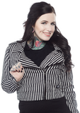 Sourpuss Striped Moto Jacket