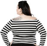 Sourpuss Striped Off Shoulder Top