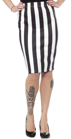Sourpuss Scuba Skirt Striped Black/White