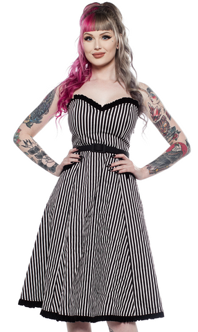 Sourpuss Striped Sweetheart Dress