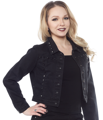 Sourpuss Studded Eisenhower Jacket Black