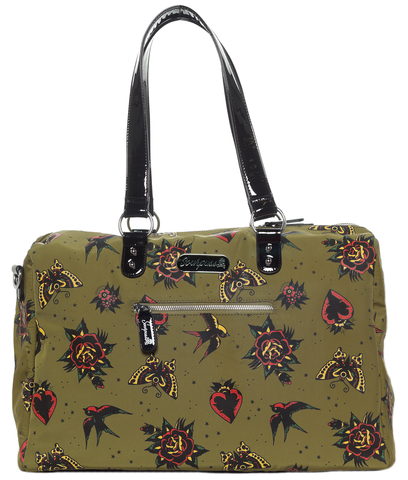 Sourpuss Hearts & Roses Travel Bag