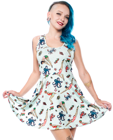Sourpuss Tattooed Divers Skater Dress