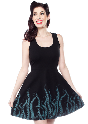 Sourpuss Tentacles Skater Dress Teal