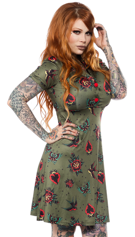 Sourpuss Hearts And Roses Rosie Dress