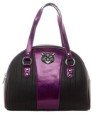 Sourpuss Jinx Tuck and Roll Purse Black / Purple